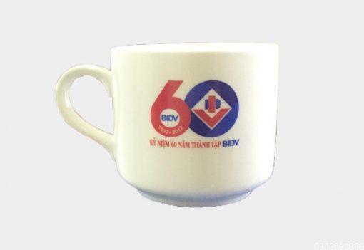 Ly Sứ Quai Trắng Bát Tràng 0.3L giá in Logo