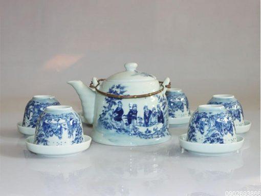 bộ ấm trà, gốm sứ Bát Tràng, Bộ Ấm Trà Trúc Lâm Thất Hiền Bát Tràng