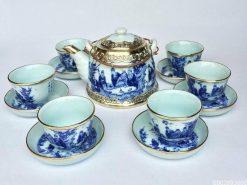bộ ấm trà, gốm sứ Bát Tràng, Bộ Ấm Trà Bát Tràng Vuốt Bát Tiên Bọc Đồng