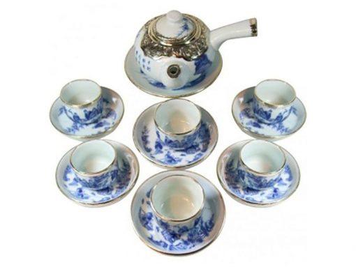 Bộ ấm trà, Gốm sứ Bát Tràng, Bộ Ấm Trà Tay Ngang Trúc Lâm Thát Hiền Bọc Đồng