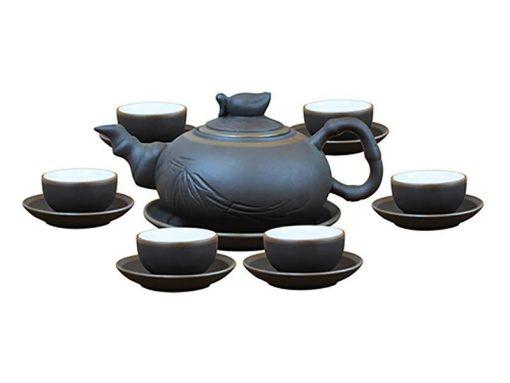 Bộ ấm trà chén đào S1 chỉ bạc Bát Tràng