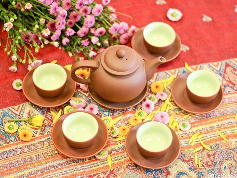 Bộ trà Tử Sa Bát Tràng quả hồng chỉ đỏ