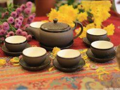 Bộ trà tử sa Bát Tràng trăng xanh