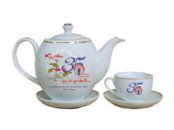 Bộ ấm trà Bát Tràng dáng Minh Long