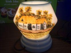 Đèn Xông Tinh Dầu Bát Tràng Dáng Trứng – Chữ Tâm