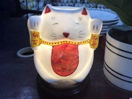 Đèn Xông Tinh Dầu Bát Tràng Mèo Phát Tài Phát Lộc S2