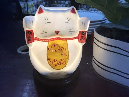 Đèn Xông Tinh Dầu Bát Tràng Mèo Phát Tài Phát Lộc S1