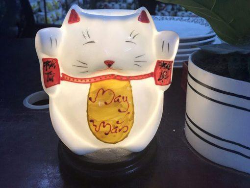 Đèn Xông Tinh Dầu Bát Tràng Mèo Thần Tài - May Mắn