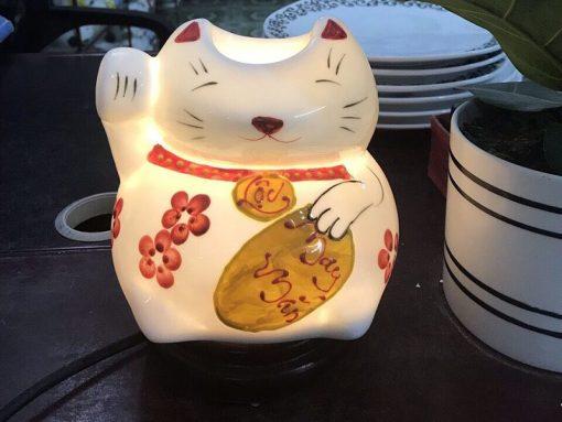 Đèn Xông Tinh Dầu Bát Tràng Mèo Thần Tài Chữ Lộc S2