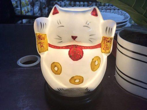 Đèn Xông Tinh Dầu Bát Tràng Mèo Thần Tài Chữ Lộc