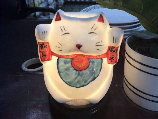 Đèn Xông Tinh Dầu Bát Tràng Mèo Thần Tài Chữ Phúc