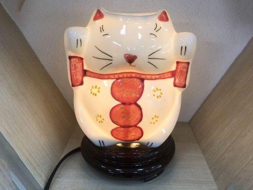 Đèn Xông Tinh Dầu Bát Tràng Mèo Thần Tài Phúc Lộc Thọ S2