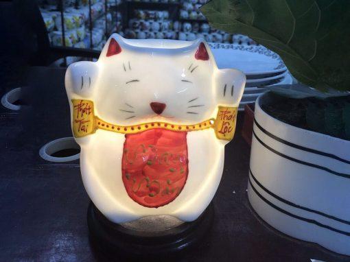 Đèn Xông Tinh Dầu Mèo Thần Tài Chữ May Mắn