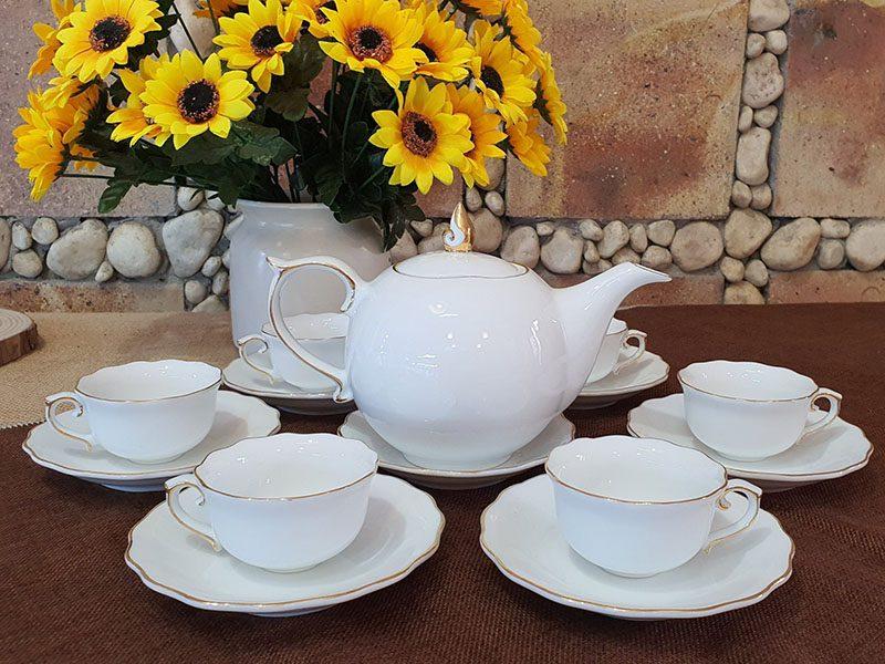 Bộ ấm trà mẫu đơn viền chỉ vàng cao cấp Bát tràng