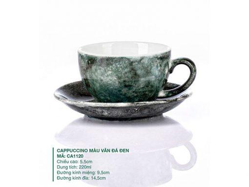 Những mẫu ly cà phê đẹp độc đáo, Ly Cappuccino Màu Vân Đá Đen 220ml