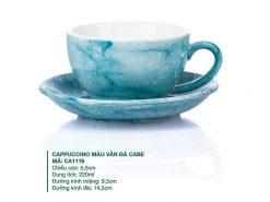 Ly Cà phê Cappuccino sứ Màu Vân Đá Cabe 220ml, Mẫu ly cafe đẹp