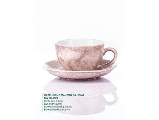 Ly Cappuccino Sứ Màu Vân Đá Hồng 220ml