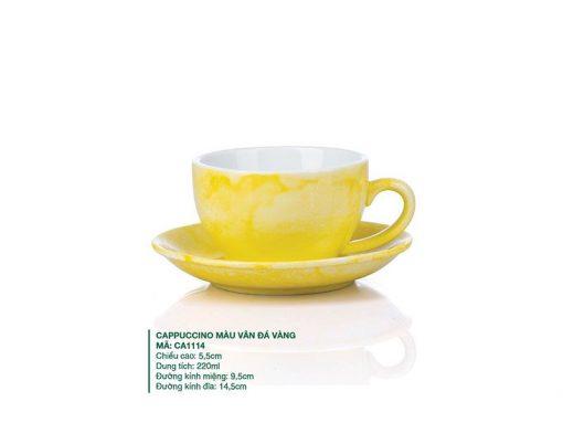 Ly Cafe Cappuccino Sứ Màu Vân Đá Vàng 220ml