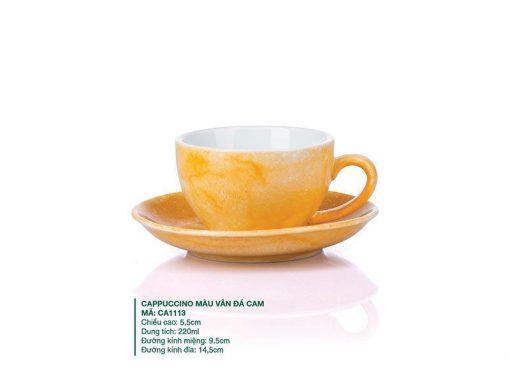 Ly Cà Phê Cappuccino sứ Màu Vân Đá Cam 220ml