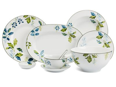 Bộ đồ ăn Âu-Á 45 sản phẩm – Camellia – Lá Xanh