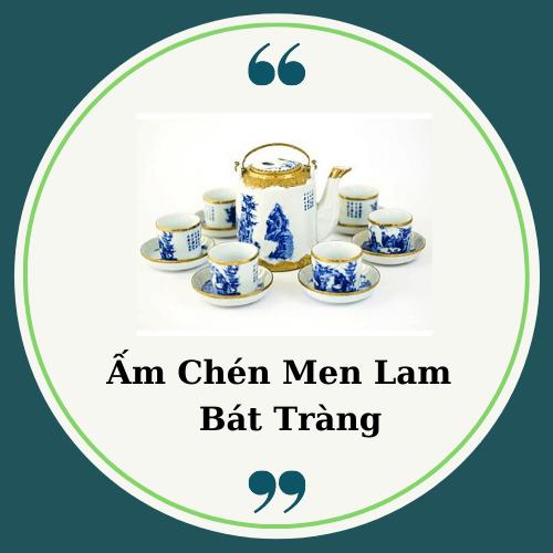 Ấm Chén Men Lam Bát Tràng